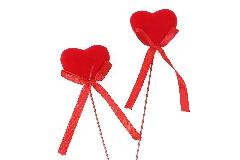 Pick Cuore C/fiocchetto Cm 3.7 Pz 8 Decoro San Valentino