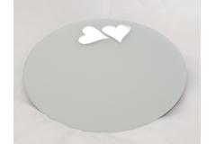 Specchio Tondo Satinato Con Cuori Diametro 40 Cm