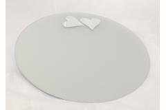 Specchio Tondo Satinato Con Cuori Diametro 45 Cm