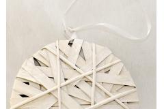 Medaglione Intrecciato Bianco In Legno Diametro 20 Cm