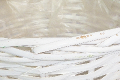 Cachepot Bianco Treccia D.16 H.14 Cm In Cesto Legno Vimini Interno Rivestito