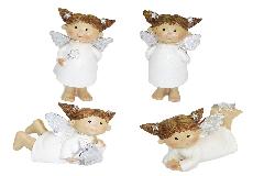 Angelo Codine In Resina Glitter Argento Cm 9.5 Decorazione Addobbi Natale