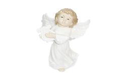 Angelo Bianco Arpa In Ceramica Smaltata Cm 20 Decoro Arredo Natale
