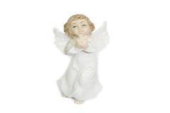 Angelo Bianco In Ceramica Smaltata Cm 10 Decoro Arredo Natale