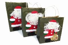 Buste Carta Appl. Babbo Natale S/3 In Tessuto