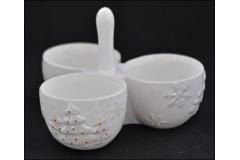 Tris Vasetti Porta Bon Bon Natalizia Ceramica Con Albero Cangiante