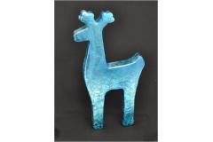 Silhouette Renna Di Natale Color Cobalto Lucido Shine 45x26 Cm