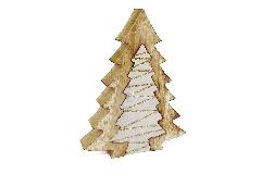 Albero Legno Naturale Doppio 10.5x7.5x26 Cm Decorazione Addobbi Natale