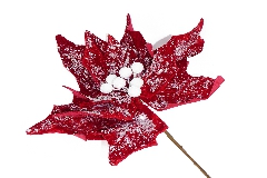 Stella Natale Vellutata Rossa Innevata Gigante Cm 85 Decorazione Addobbi