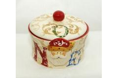 Biscottiera Babbo Natale In Ceramica Diametro 16 Cm Alto 14 Cm