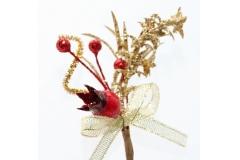12 Pick Di Melograno Con Rametti Oro Glitterati