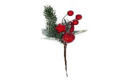 Pz 12 Pick Pino Con Mela Rossa E Peperoncino Art. H.18 Cm Decoro Natale