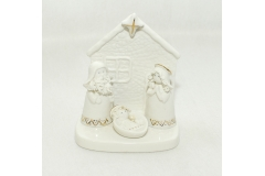 Natività Con Casina In Ceramica Bianca Alta 13 Cm