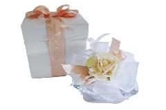 Bomboniere Portacandela Rosa Vetro Con Scatola E Sacchetto Matrimonio