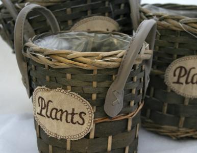 Serie Di 3 Cesti Cachepot plants Con Manici In Ecopelle