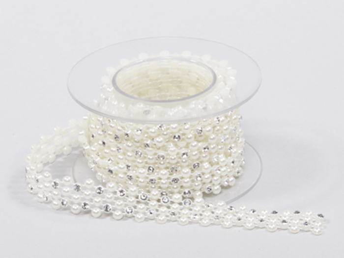 1 Bobina Nastro Perle/strass 1,5x180 Cm Addobbi Wedding