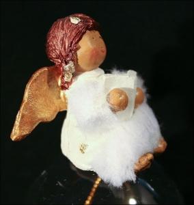 Campana In Vetro Con Angelo Batuffolo Decorazione Di Natale